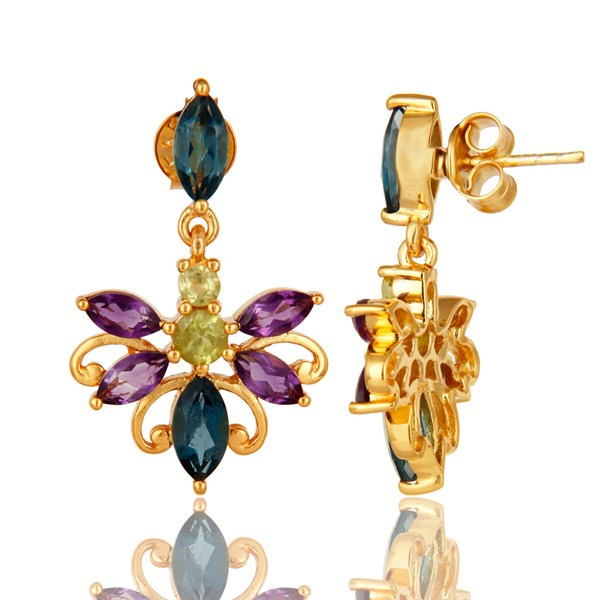 Exporter 925 Sterling Silver Amethyst, Blue Topaz And Peridot Earrings - Gold Plated