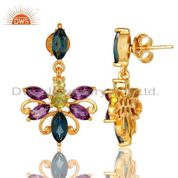 Suppliers 925 Sterling Silver Amethyst, Blue Topaz And Peridot Earrings - Gold Plated