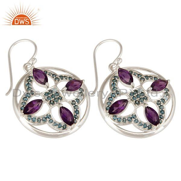 Exporter 925 Sterling Silver Amethyst And Blue Topaz Flower Cluster Dangle Earrings