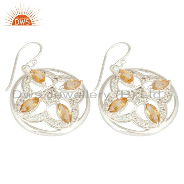 Exporter Natural Citrine Marquise Cut Gemstone Sterling Silver White Topaz Earrings