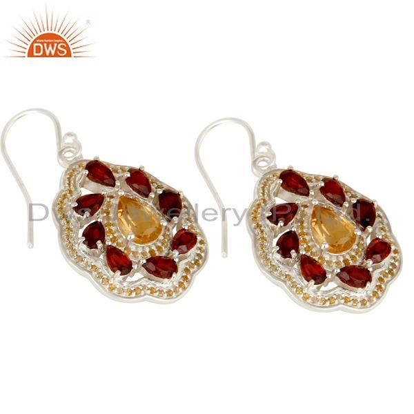 Exporter Natural Citrine and Garnet Gemstone Sterling Silver Drop Earring Fine Jewelry