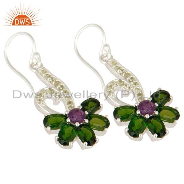 Exporter Natural Chrome Diopside, Peridot And Amethyst Sterling Silver Dangle Earrings