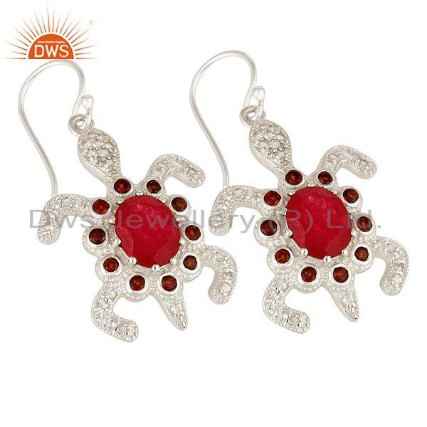Exporter 925 Sterling Silver Red Aventurine And Garnet Turtle Dangle Earrings With White