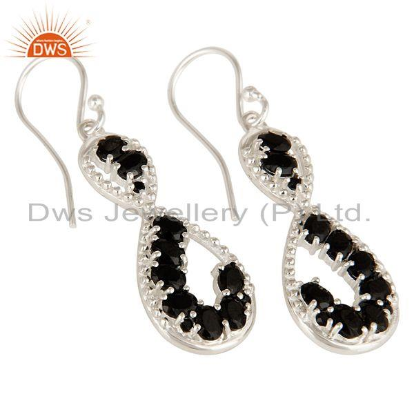 Exporter 925 Sterling Silver Black Onyx Gemstone Designer Infinity Dangle Earrings