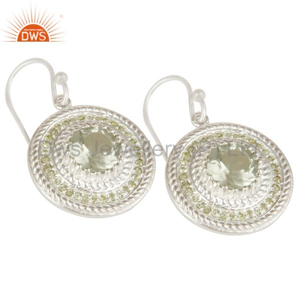 Exporter 925 Sterling Silver Green Amethyst and Peridot Gemstone Disc Dangle Earrings