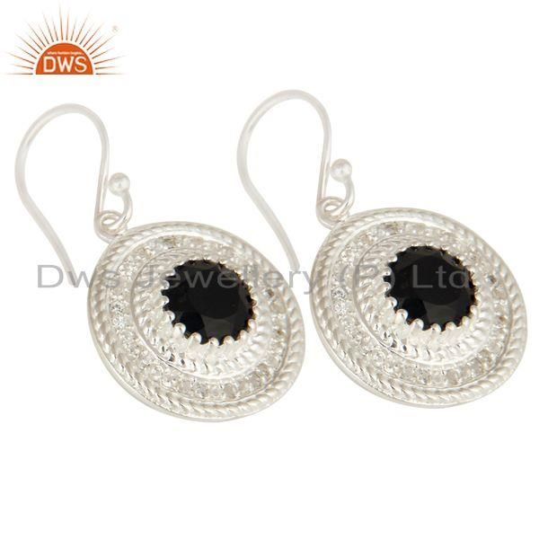 Exporter 925 Sterling Silver Black Onyx And White Topaz Disc Dangle Earrings For Womens