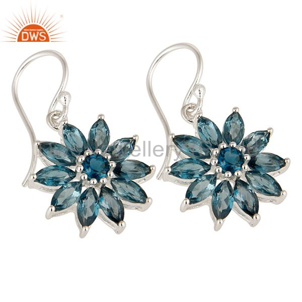 Exporter 925 Sterling Silver Blue Topaz Marquise Cut Gemstone Cluster Flower Earrings