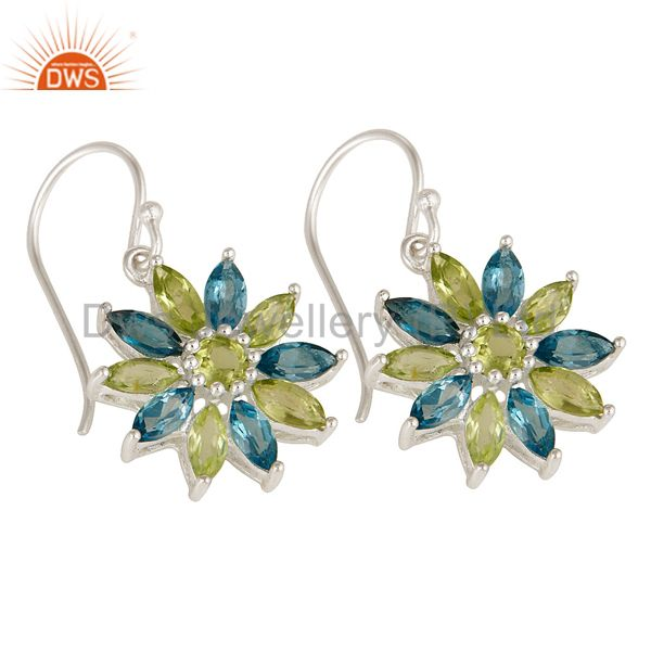 Exporter 925 Sterling Silver Blue Topaz & Peridot Gemstone Cluster Flower Dangle Earrings