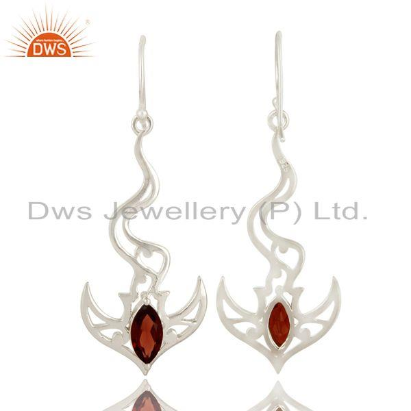 Exporter 925 Sterling Silver Garnet Gemstone Sea Wave Designs Dangle Earrings