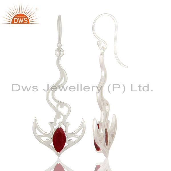 Exporter Red Corundum Ruby Solid Sterling Silver Designer Fine Gemstone Earrings