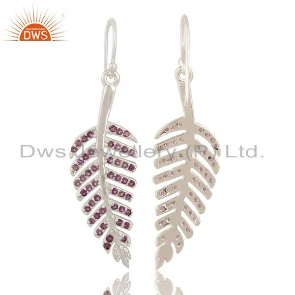 Exporter 925 Sterling Silver Amethyst Leaf Designer Dangle Earrings For Womens