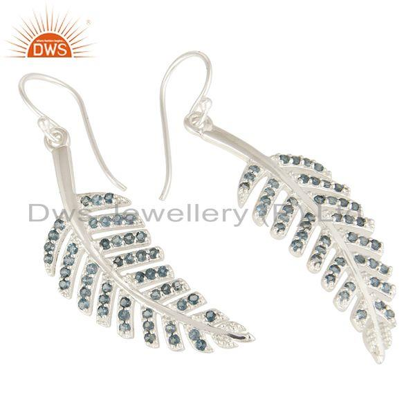Exporter London Blue Topaz Sterling Silver Leaf Design Dangle Earrings