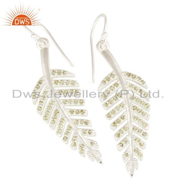 Exporter Leaf Design Natural Peridot Gemstone Sterling Silver Earrings