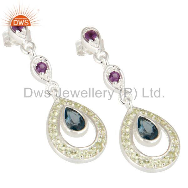 Exporter Amethyst And Blue Topaz Sterling Silver Dangle Earrings