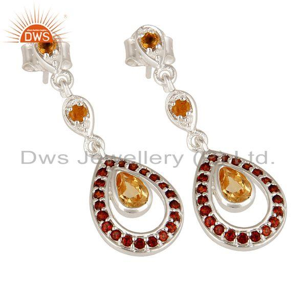 Exporter Natural Citrine And Garnet Gemstone Dangle Earrings Made In Sterling Silver