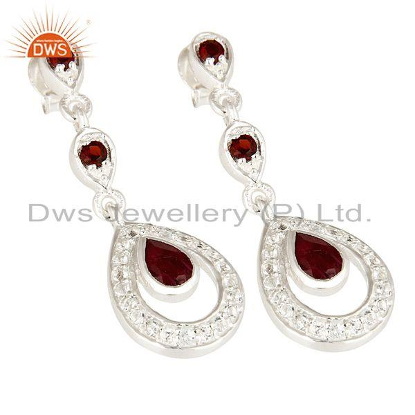 Exporter 925 Sterling Silver Ruby And Garnet Dangle Earrings With White Topaz