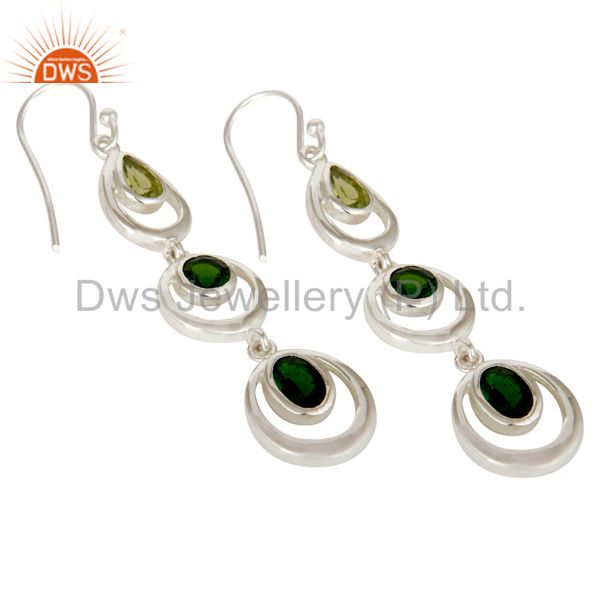 Exporter Chrome Diopsite and Peridot Sterling Silver Gemstone Dangle Earring