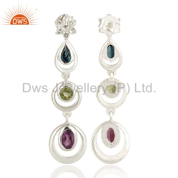 Exporter Natural Multicolor Gemstone Sterling Silver Dangle Earrings