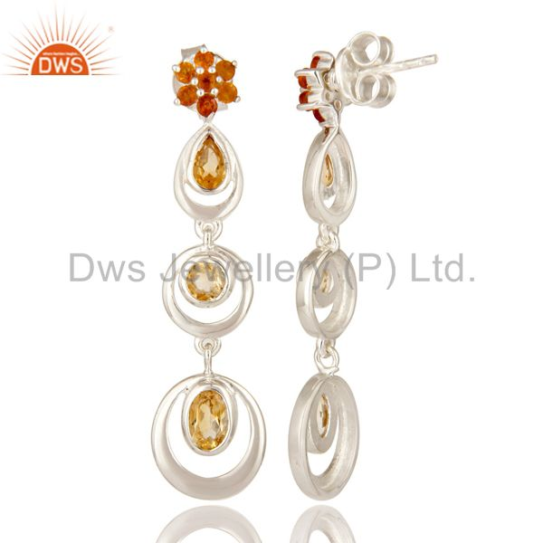 Exporter 925 Sterling Silver Citrine Gemstone Multi Circle Dangle Earrings For Womens