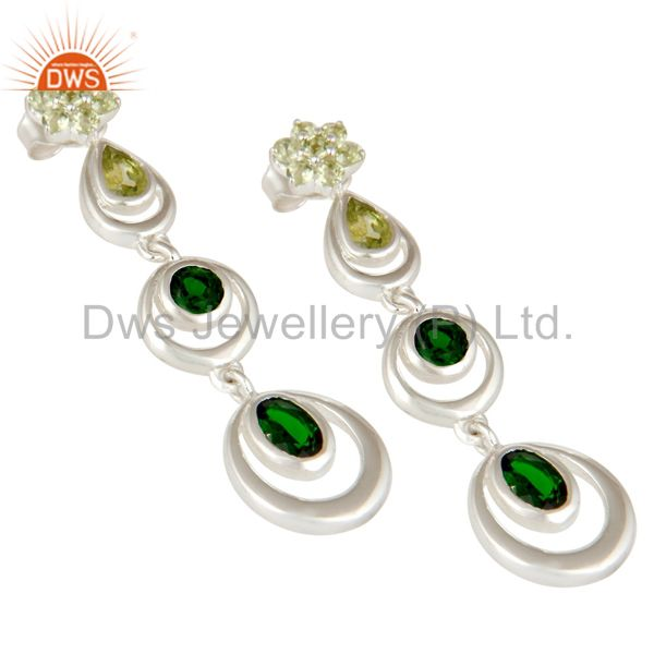Exporter 925 Sterling Silver Chrome Diopsite and Peridot Circle Dangle Earrings For Women
