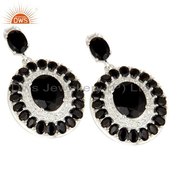 Exporter 925 Sterling Silver Black Onyx And White Topaz Gemstone Cluster Dangle Earrings