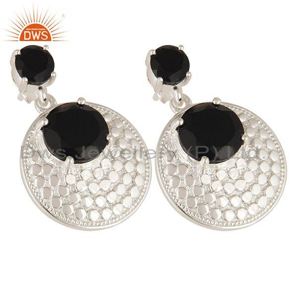 Exporter Natural Black Onyx Gemstone Prong Set Sterling Silver Disc Dangle Earrings
