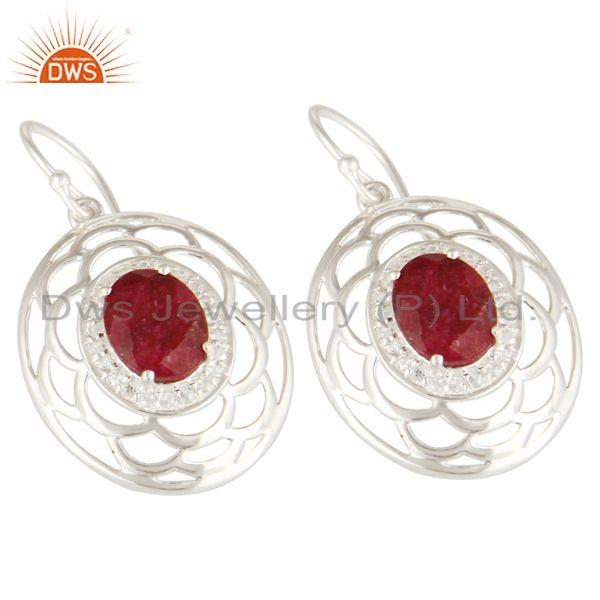 Exporter 925 Sterling Silver Ruby Corundum Gemstone Earrings With White Topaz