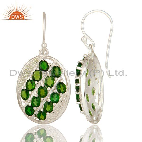Exporter Natural Green Peridot And Chrome Diopside 925 Sterling Silver Earrings