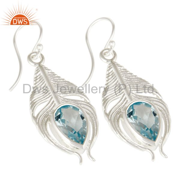 Exporter 925 Sterling Silver Genuine Blue Topaz Peacock Feather Dangle Earrings