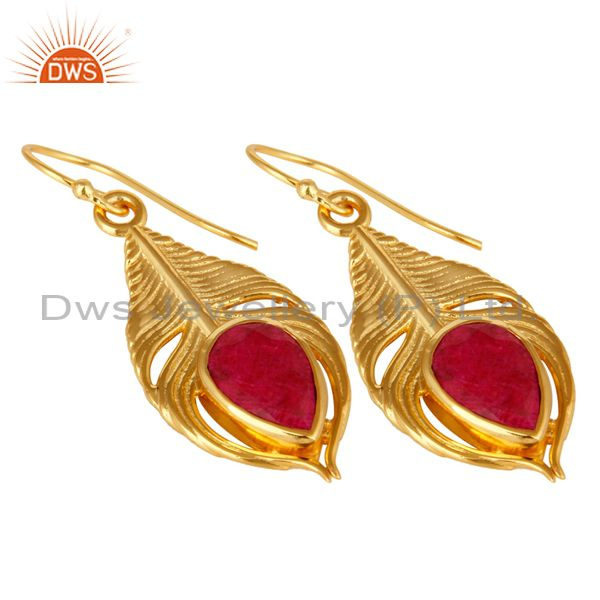 Exporter 18K Gold Plated Sterling Silver Red Corundum Peacock Feather Dangle Earrings