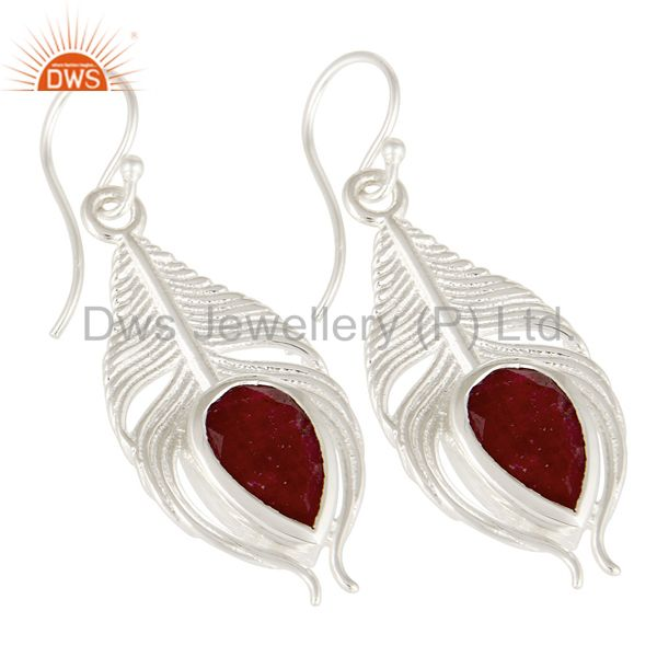 Exporter 925 Sterling Silver Peacock Feather Dangle Earrings With Red Ruby Corundum