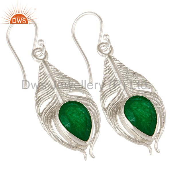 Exporter 925 Sterling Silver Green Aventurine Gemstone Peacock Feather Dangle Earrings