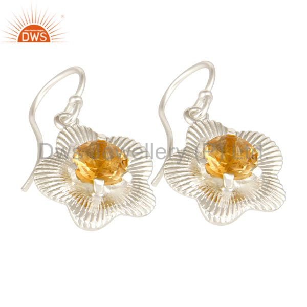 Exporter Natural Round Cut Citrine Gemstone 925 Sterling Silver Fine Earrings