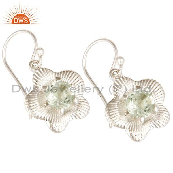 Exporter Solid 925 Sterling Silver Natural Green Amethyst Drops Fine Earrings Jewellery