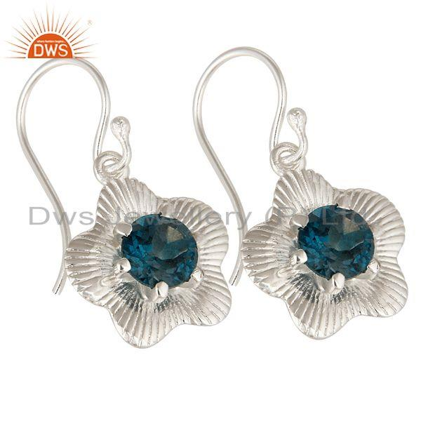 Exporter High Polish Sterling Silver London Blue Topaz Prong Set Flower Dangle Earrings