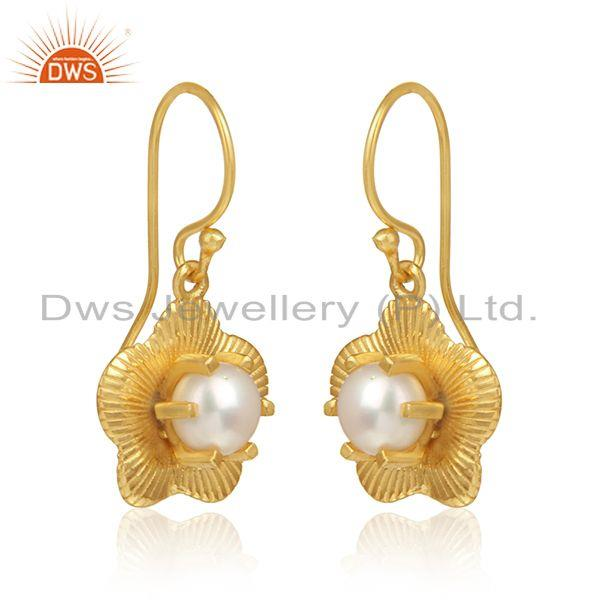 Flower design gold plated silver natural pearl gemstone earrings