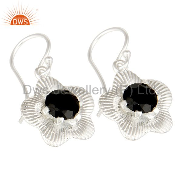 Exporter Prong Set Natural Black Onyx Gemstone Sterling Silver Fashion Earrings
