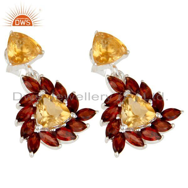 Exporter 925 Sterling Silver Citrine And Garnet Gemstone Cluster Dangle Earrings