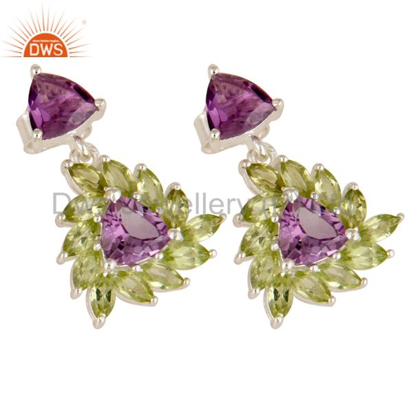 Exporter 925 Sterling Silver Amethyst And Peridot Gemstone Floral Cluster Dangle Earrings