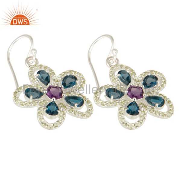 Exporter Swiss Blue Topaz, Amethyst And Peridot Sterling Silver Flower Dangle Earrings