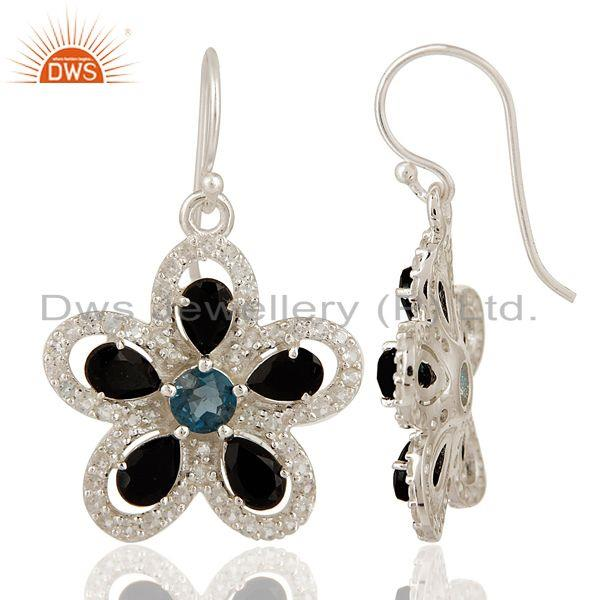 Exporter Black Onyx And Blue Topaz Sterling Silver Earrings With White Topaz