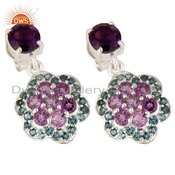 Exporter Natural Amethyst And London Blue Topaz Sterling Silver Cluster Dangle Earrings