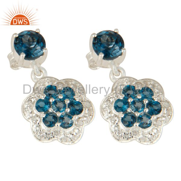 Exporter Natural London Blue Topaz 925 Sterling Silver Earrings With White Topaz