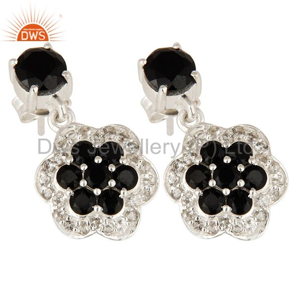 Exporter Natural Black Onyx And White Topaz Cluster Sterling Silver Dangle Earrings
