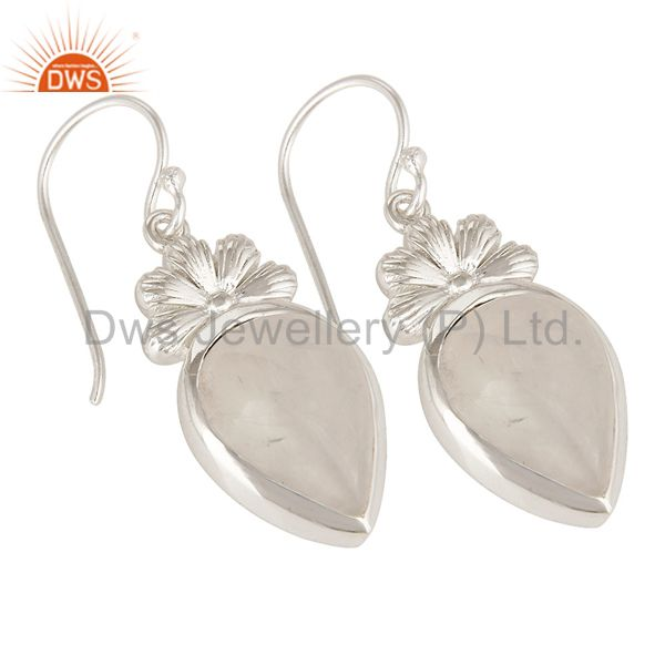 Exporter Handmade Natural Rainbow Moonstone Sterling Silver Dangle Earrings