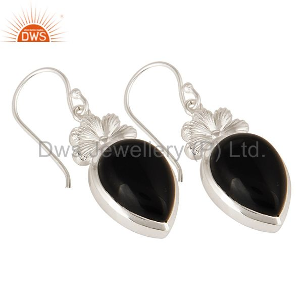 Exporter Natural Black Onyx Sterling Silver Gemstone Dangle Earrings