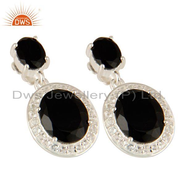 Exporter Prong Set Black Onyx And White Topaz Dangle Earrings In Sterling Silver