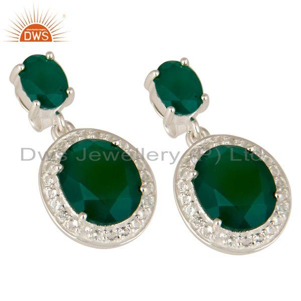 Exporter 925 Sterling Silver Green Onyx And White Topaz Gemstone Dangle Earrings