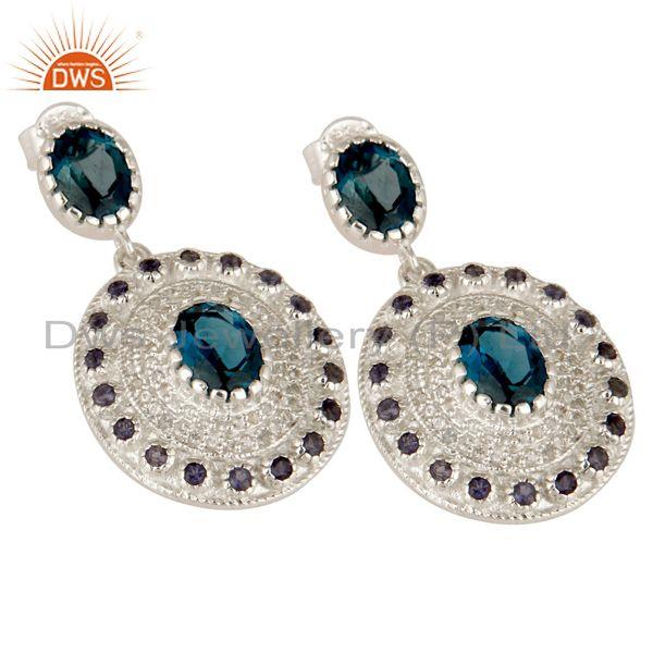 Exporter Natural Iolite, London Blue Topaz And White Topaz Sterling Silver Dangle Earring