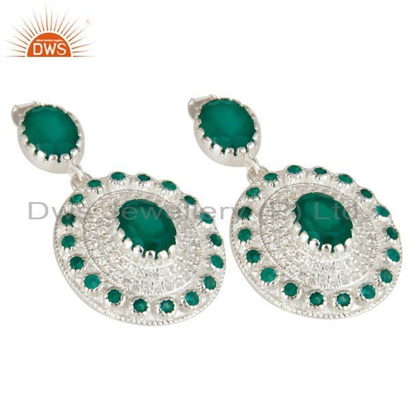 Exporter 925 Sterling Silver Green Onyx And White Topaz Fine Gemstone Earrings For Her